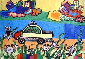 未来科技畅想儿童画 未来海底世界儿童画 未来的青岛儿童画